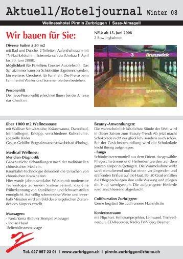 Aktuell/Hoteljournal Winter 08 - Pirmin Zurbriggen