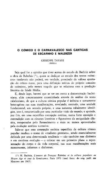 O CÓMIGO E O CARNAVALESCO NAS CANTIGAS Di ESCARNHO ...
