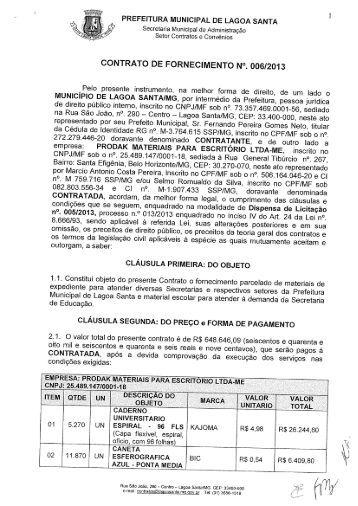 Contrato - Prefeitura Municipal de Lagoa Santa
