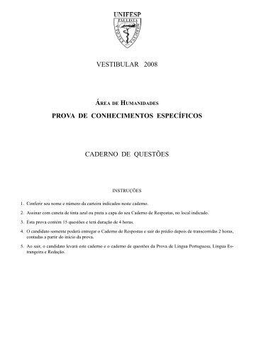 VESTIBULAR 2008 PROVA DE CONHECIMENTOS ESPECÍFICOS ...