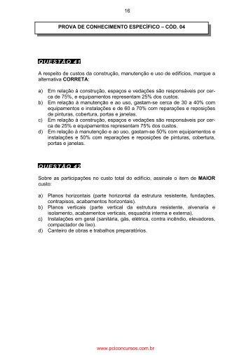 PROVA DE CONHECIMENTO ESPECÍFICO 04 ... - Mega Concursos