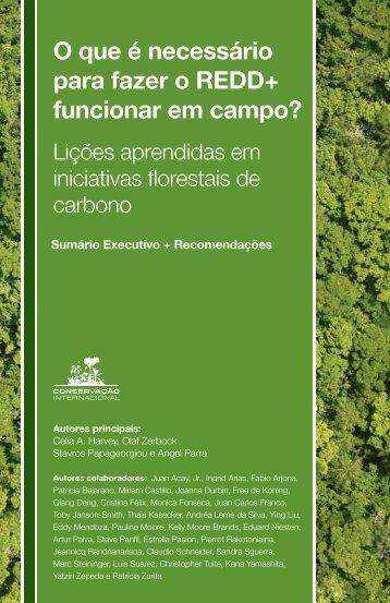 O que é necessário para fazer o REDD+ - Conservation International