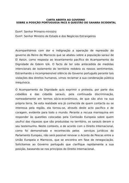 CARTA ABERTA AO GOVERNO - Esquerda.net