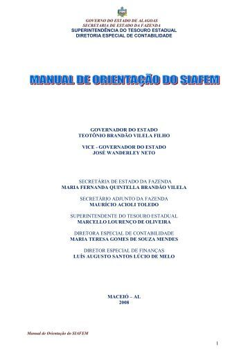 MANUAL DE ORIENTAÇÃO DO SIAFEM - Sefaz - AL