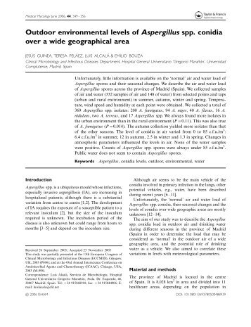 Outdoor environmental levels of Aspergillus spp. conidia over a ...