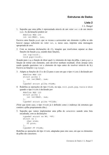 Estruturas de Dados Lista 2