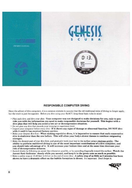 Genesis React Owners Manual PDF - Rum Runner Dive Shop