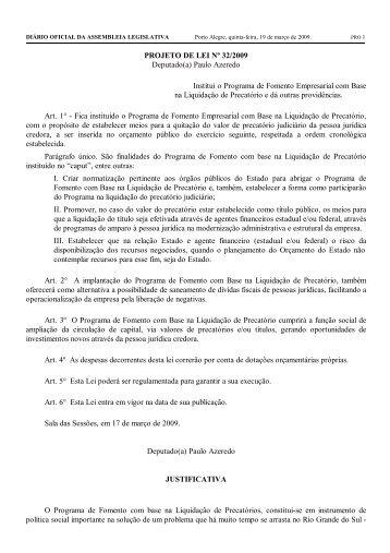 PROJETO DE LEI Nº 32/2009 Deputado(a) Paulo Azeredo Institui o ...