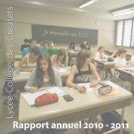 Rapport annuel 2010  - 2011 Lycée-Collège des Creusets