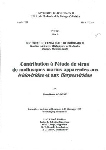 Contribution à l'étude de virus de mollusques marins apparentés ...