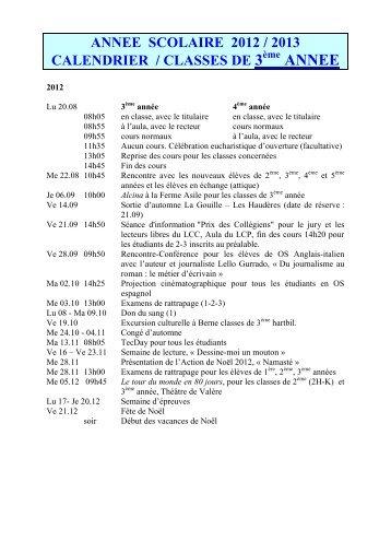 calendrier annee scolaire 2006 / 2007 - Lycée-Collège des Creusets