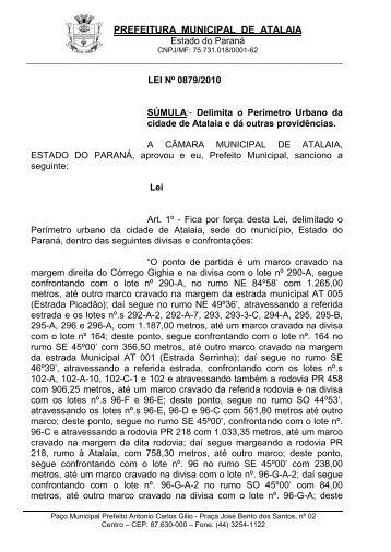 LEI Nº 879/2010 - Delimita o Perímetro Urbano da cidade de Atalaia.