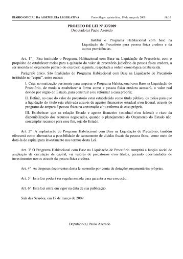 PROJETO DE LEI Nº 33/2009 Deputado(a) Paulo Azeredo Institui o ...