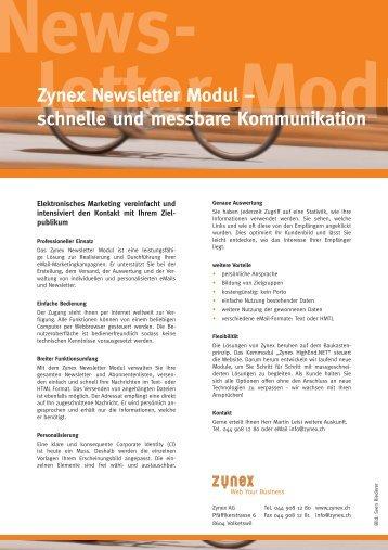Zynex Newsletter Modul ¦ schnelle und messbare Kommunikation