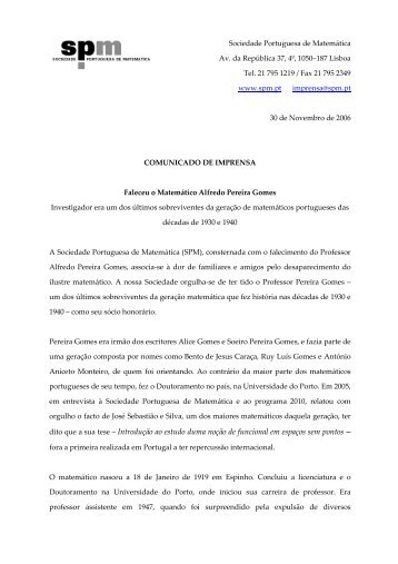 Faleceu o Matemático Alfredo Pereira Gomes - Sociedade ...
