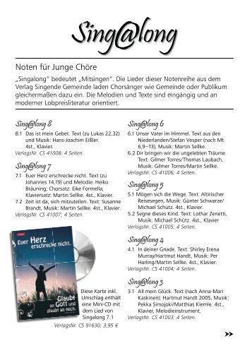 Noten für Junge Chöre Sing@long 8 Sing@long 7 Sing@long 6 ...