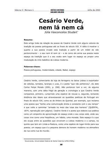 6. Cesário Verde, nem lá nem cá