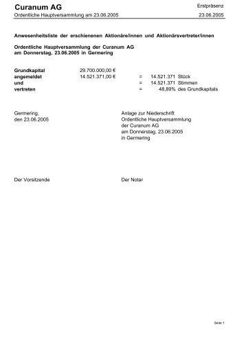 Erstpräsenz Ordentliche Hauptversammlung am 23.06 ... - Curanum