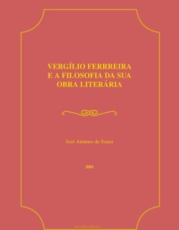 Vergílio Ferreira ea Filosofia da sua Obra Literária - LusoSofia