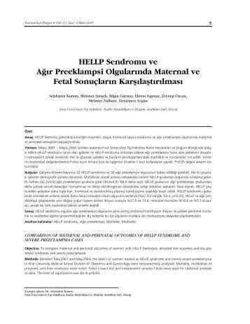 PDF Versiyon - Perinatoloji Dergisi