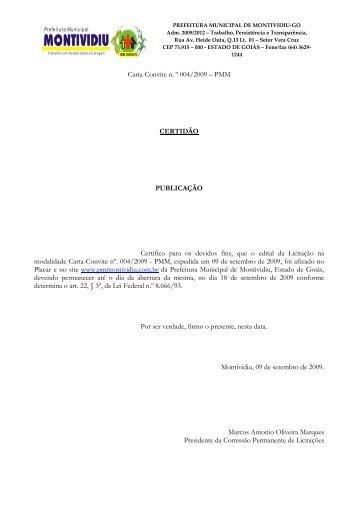 Carta Convite 004 2009 tapa buracos - Prefeitura Municipal de ...