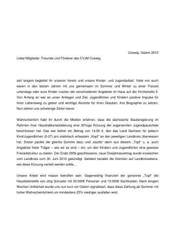 Freundesbrief - CVJM Coswig
