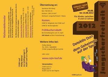 Anmeldung / Flyer zur Jungscharfreizeit 2012 - CVJM Lauf