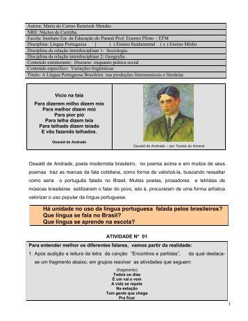 Há unidade no uso da língua portuguesa falada - Secretaria de ...