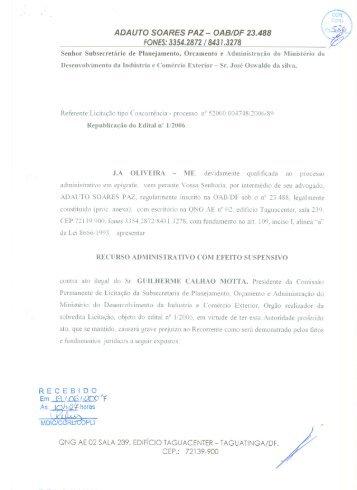 J.A.OLIVEIRA - Ministério do Desenvolvimento, Indústria e ...