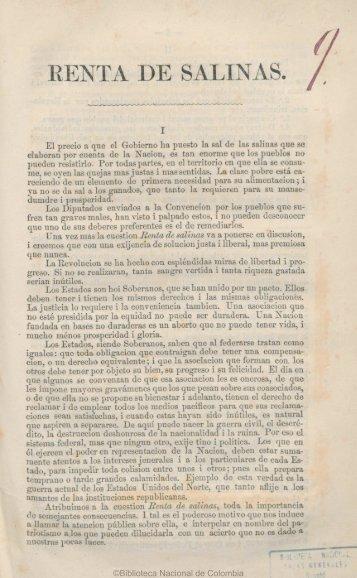 RENTA DE SALINAS. - Biblioteca Nacional de Colombia