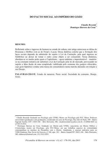 DO PACTO SOCIAL AO IMPÉRIO DO GOZO - Psicanálise & Barroco