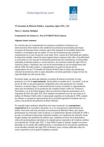 Comentarios de Gustavo Paz - Historia Política