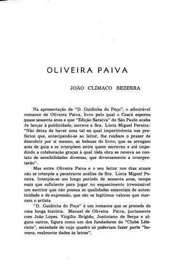 Oliveira Paiva - João Climaco Bezerra - Portal da História do Ceará
