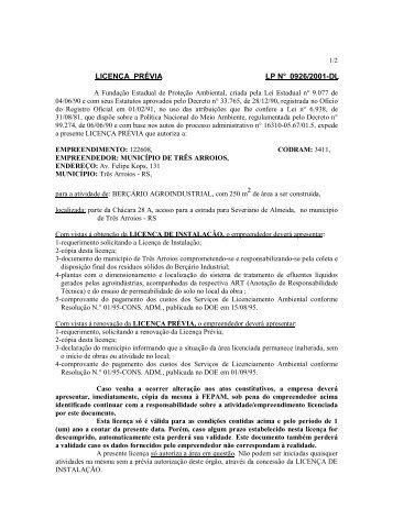 LICENÇA PRÉVIA LP N° 0926/2001-DL - Fepam