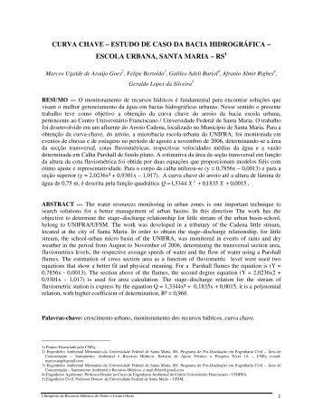 curva chave – estudo de caso da bacia hidrográfica - Associação ...