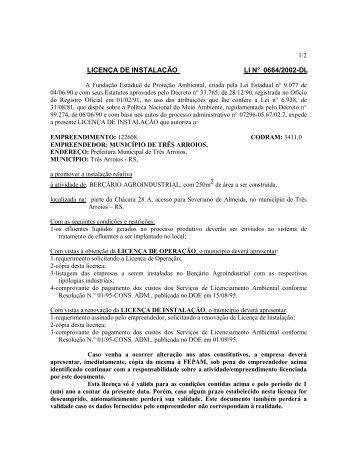 LICENÇA DE INSTALAÇÃO LI N° 0664/2002-DL - Fepam