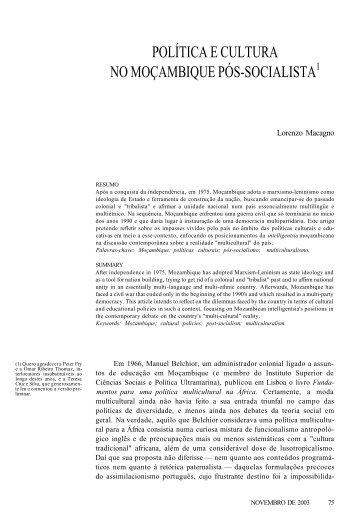 política e cultura no moçambique pós-socialista1 - Revista Novos ...