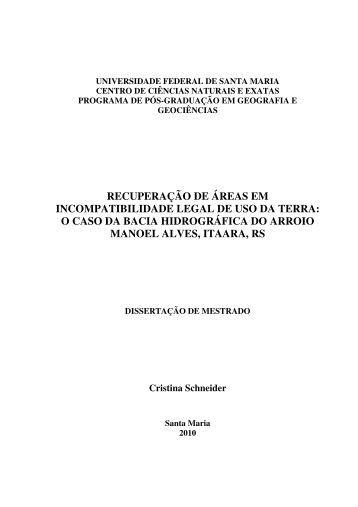 RECUPERAÇÃO DE ÁREAS EM INCOMPATIBILIDADE ... - UFSM