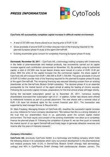 Press Release - CytoTools AG