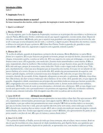 Introdução à Bíblia lição 5 V. Inspiração (Parte 2) - Logos Ministries ...