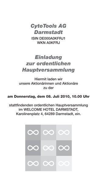 Einladung/Tagesordnung - CytoTools AG