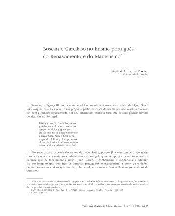 Boscán e Garcilaso no lirismo português do Renascimento