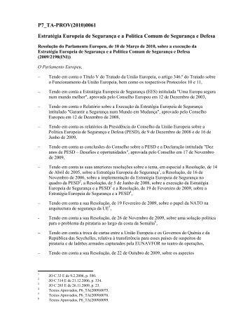 P7_TA-PROV(2010)0061 Estratégia Europeia de ... - Europa