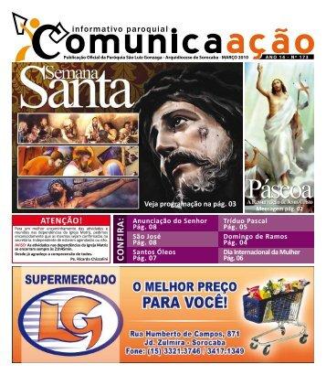 Março - Paróquia São Luiz Gonzaga – Arquidiocese de Sorocaba ...