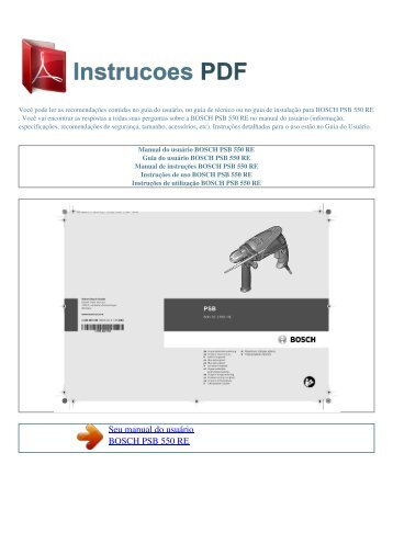 Manual do usuário BOSCH PSB 550 RE - INSTRUCOES PDF
