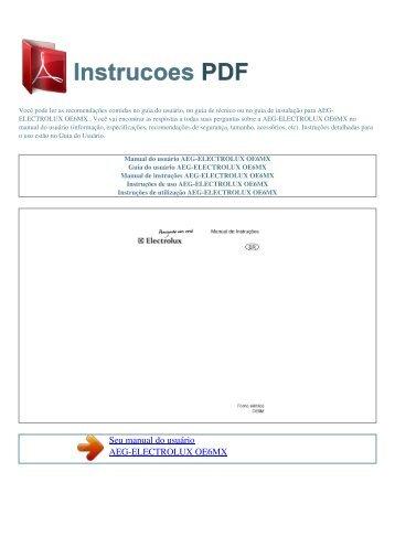 Manual do usuário AEG-ELECTROLUX OE6MX - INSTRUCOES PDF
