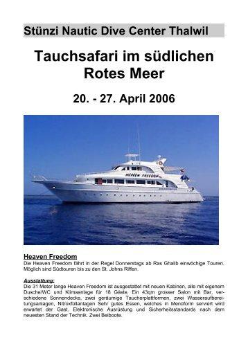 Stünzi Nautic Dive Center Thalwil Tauchsafari im südlichen Rotes ...