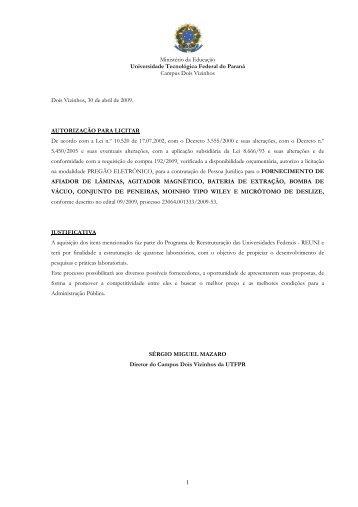 Pregão Eletrônico Nº 09.09 - Aquisição de Equipamentos para