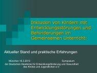Inklusion: aktueller Stand praktische Erfahrungen - Deutsche ...