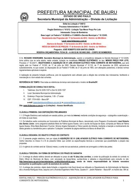 Edital: 48/2012 - Prefeitura Municipal de Bauru